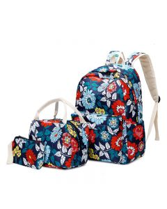 Nylon ethnic style printed college girl backpack, three-piece set