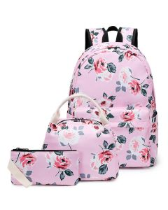 Oxford printed flowers ethnic casual backpack, three-piece student schoolbag