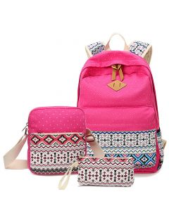 Canvas girls backpack, ethnic style casual student schoolbag, three-piece set