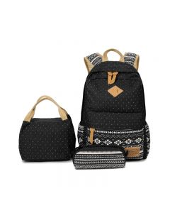 Ethnic style outdoor canvas travel backpack, three-piece school bag