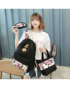 Casual canvas ethnic style girl backpack, student schoolbag, three-piece set